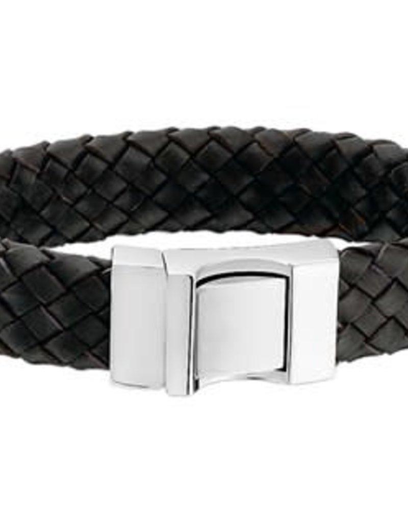 Leren armband - Zwart -  16 mm - 21 cm