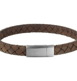 Leren armband - Bruin -  8 mm - 21 cm