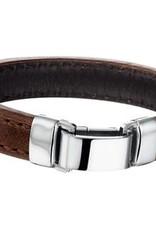 Leren armband - Bruin -  14  mm - 21 cm