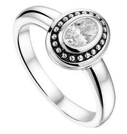 Zilveren ring - Geoxideerd - Zirkonia - Maat 17.75