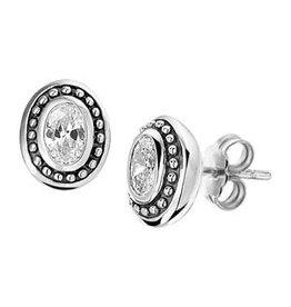 Zilveren oorknoppen - Geoxideerd - Zirkonia