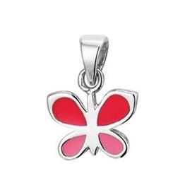 Zilveren hanger - Gerhodineerd - Vlinder - Emaille - Roze