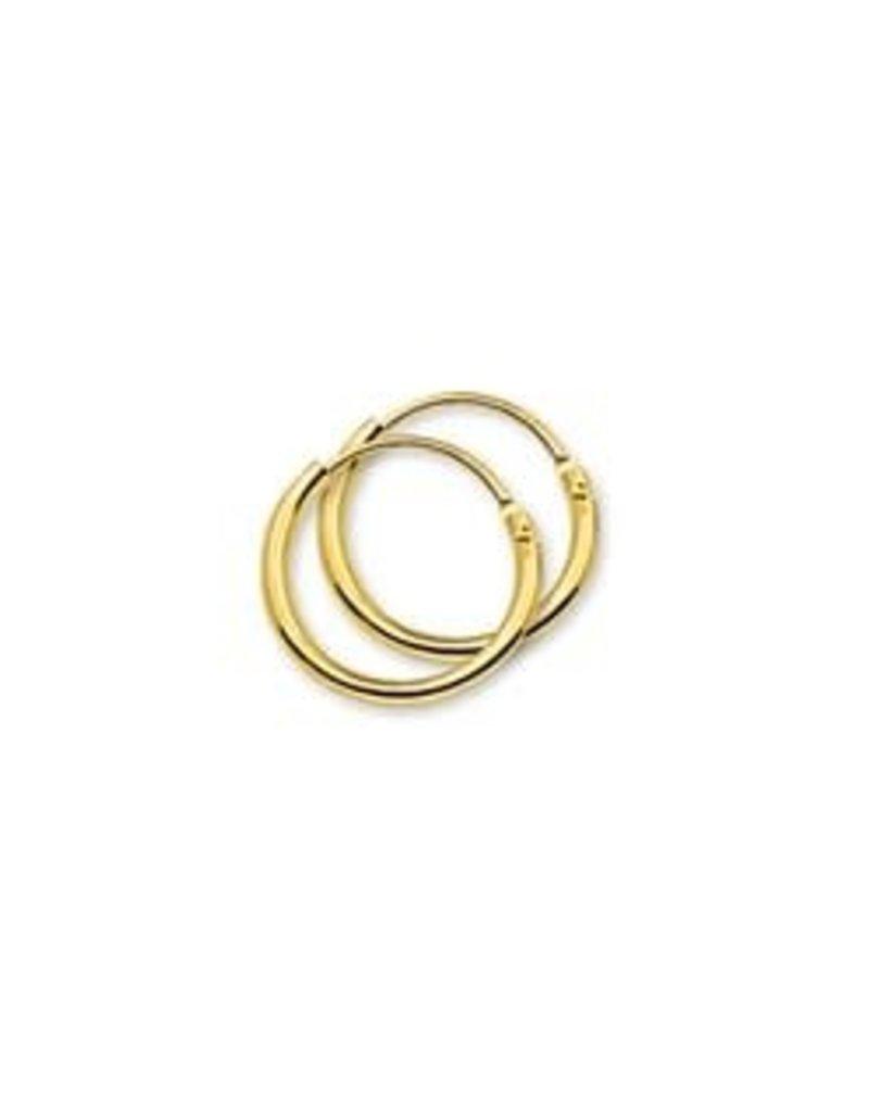 Gouden draadcreolen - 14 karaats - 13 mm