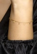 Zilver verguld - Armband - Plaatjes - Zirkonia - 1.2 mm - 16.5 + 2 cm