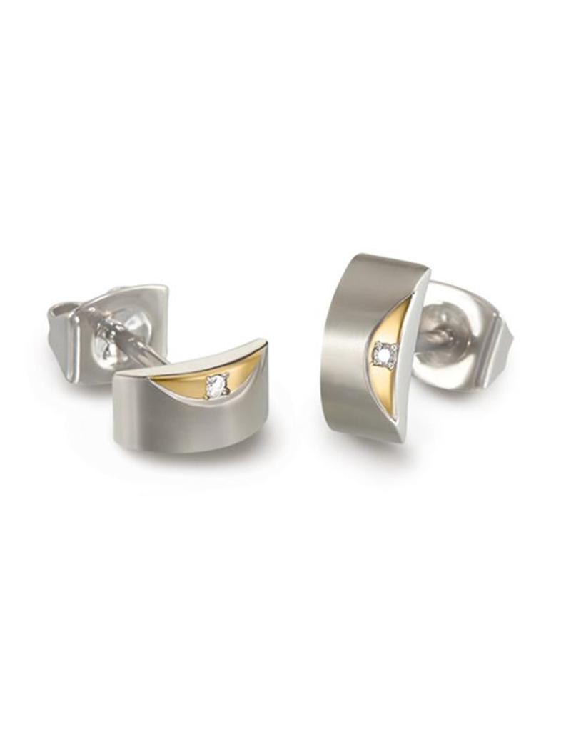 Boccia Boccia - Oorknoppen - Titanium bicolor - Diamant