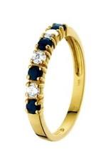 Gouden ring - 14 karaats - Zirkonia - Blauw Saffier - Maat 17.5
