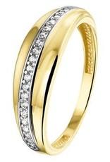 Gouden ring - 14 karaats - Zirkonia - Maat 18.5