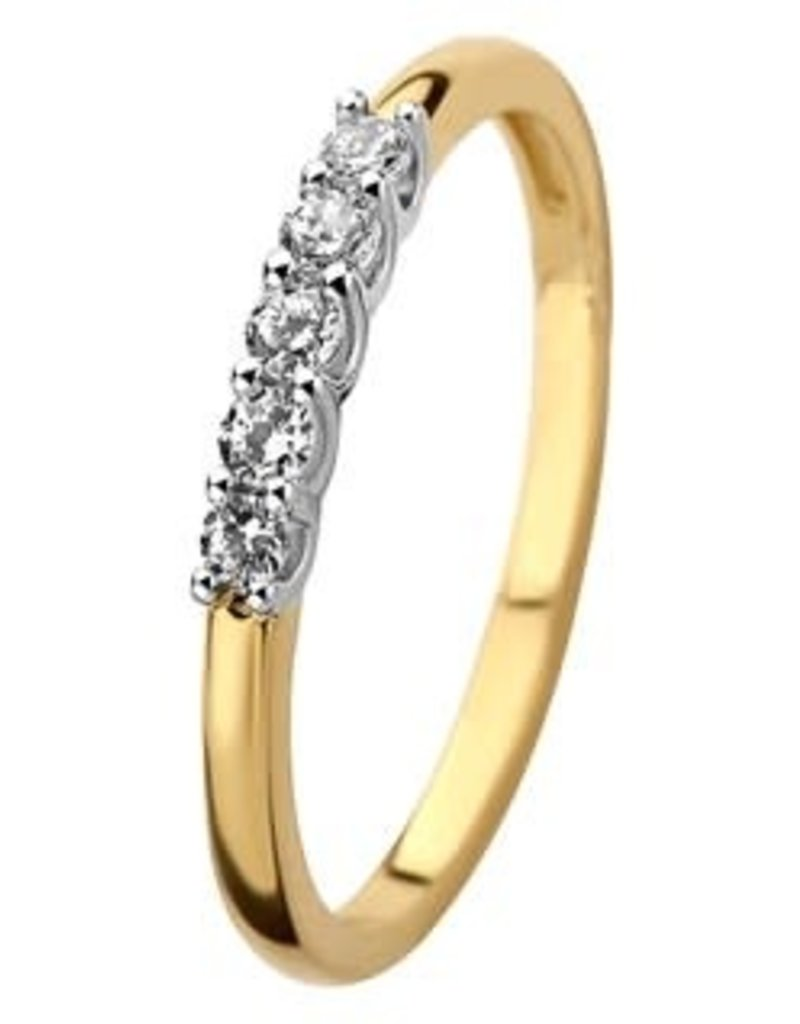 Gouden ring - 14 karaats - Zirkonia - Maat 17.5