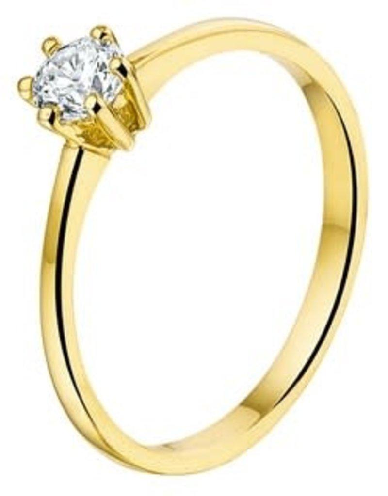 Gouden ring - 14 karaats - Solitair - Zirkonia - Maat 17.5