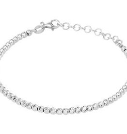 Zilveren armband - Gerhodineerd - Bolletjes gediamanteerd - 3,0 mm - 16 + 3 cm