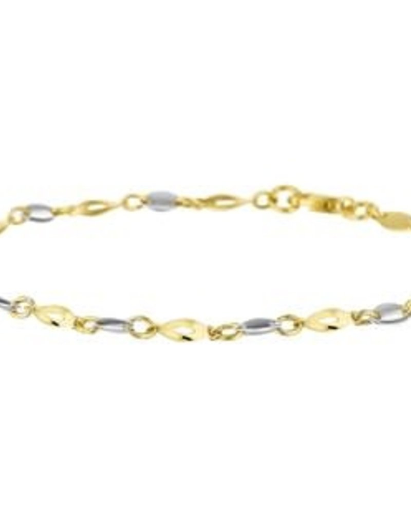 Gouden armband - 14 karaats - Bicolor - 3,0 mm - 19 cm