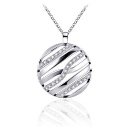 Gisser Zilveren collier - Gerhodineerd - Zirkonia - 42+5 cm
