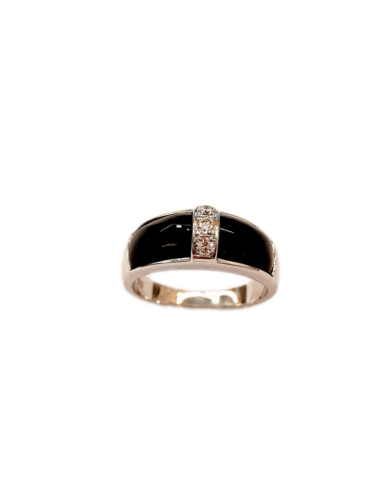 Occasions by Marleen Occasions by Marleen - 14 karaats - Wit gouden ring - Onix - Briljant - Maat 17.5
