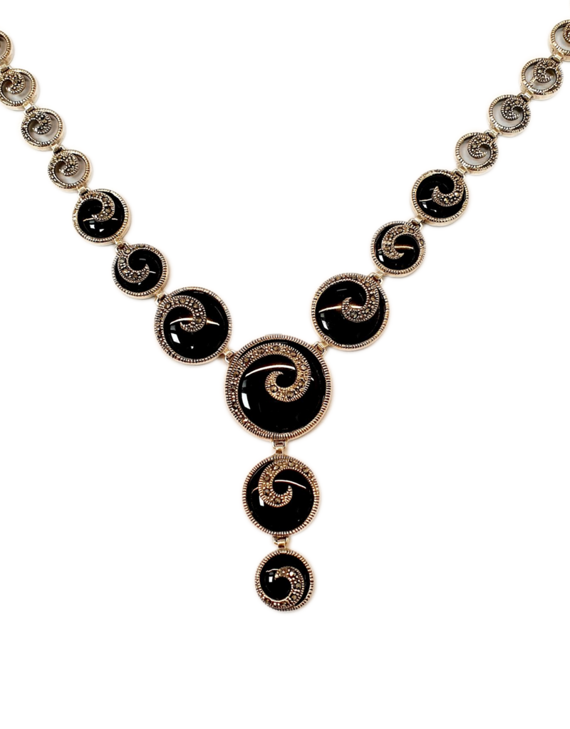 Occasions by Marleen Occasions by Marleen - Zilveren collier - Fantasie collier - Onyx - Markesiet - 47 cm