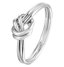 Zilveren ring - Gerhodineerd - Knoop - Maat 17.25