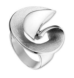 Zilveren ring - Gerhodineerd - Gescratcht - Maat 17.75