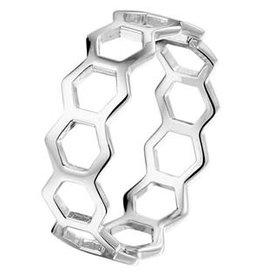 Zilveren ring - Gerhodineerd - Zeshoeken - Maat 17.25