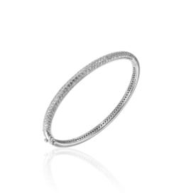Gisser Zilveren bangle - Gerhodineerd - Zirkonia - 60