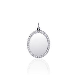 Gisser Zilveren graveerplaatje - Gerhodineerd - Zirkonia