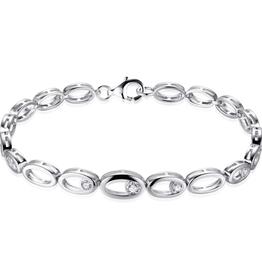 Gisser Zilveren armband - Gerhodineerd - Zirkonia - 19 cm