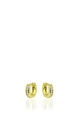 Gisser SILVER HOOPS - 18 karaats geelgoud op zilver - Zirkonia - 13.5 mm
