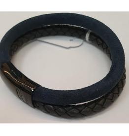 Thomss Thomss - Leren armband - Zwart/Blauw - TZ35