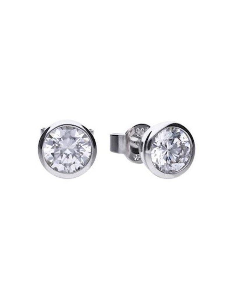 Diamonfire Diamonfire - Zilveren oorknoppen  - Zirkonia - Solitair - 0.75 crt