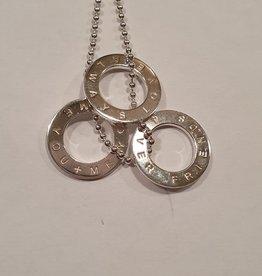 Occasions by Marleen Occasions by Marleen - Zilveren bolletjes collier - 3 hangers met tekst - Esprit - 50 cm