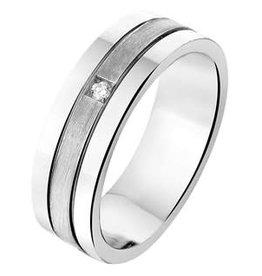 Amorio Relatiering - Zilver - A309 - Diamant - 0.02 crt / H/Si - 6.0 mm