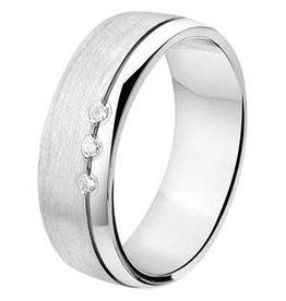 Amorio Relatiering - Zilver - A312 - Diamant - 3 x 0.01 crt / H/Si - 6.0 mm