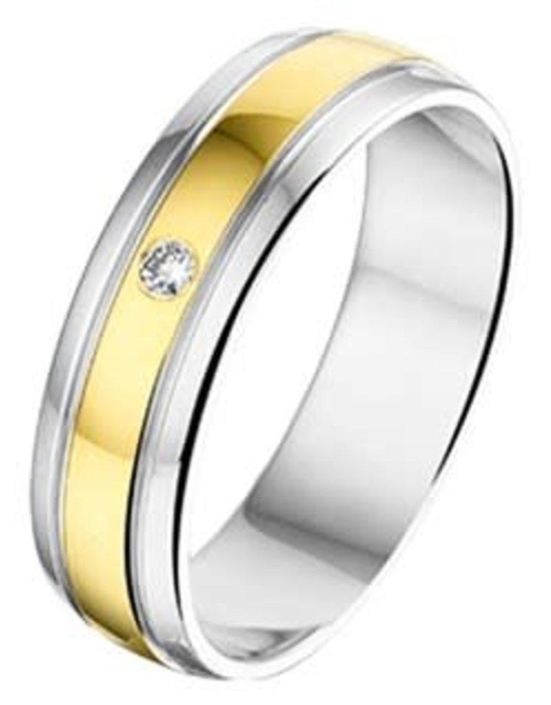 Amorio Relatiering - Geelgoud met zilver - AL751 - Diamant - 0.02 / H/Si - 5.0 mm