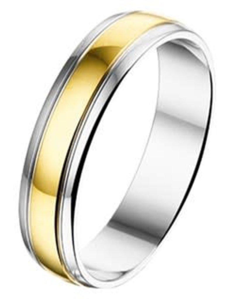 Amorio Relatiering - Geelgoud met zilver - AL750 - Zonder steen - 5.0 mm