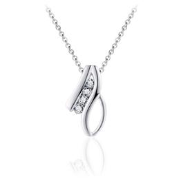 Gisser Zilveren collier - Gerhodineerd - Zirkonia