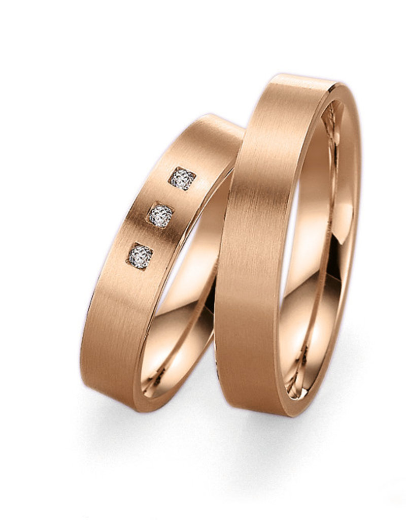 Gettmann Trouwringen - Rosé goud - 8001,45 mm - 3 briljanten = 0.45 ct