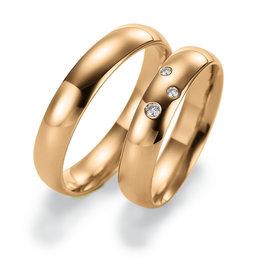 Gettmann Trouwringen - Rosé goud - 8002,45 mm - 3 briljanten = 0.05 ct