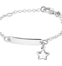 Zilveren naamplaatarmbandje - Jasseron - Sterretje - 11-13 cm