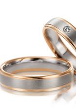 Gettmann Trouwringen - Wit en rosé goud - 8007,50 mm - 1 briljant = 0.04 ct