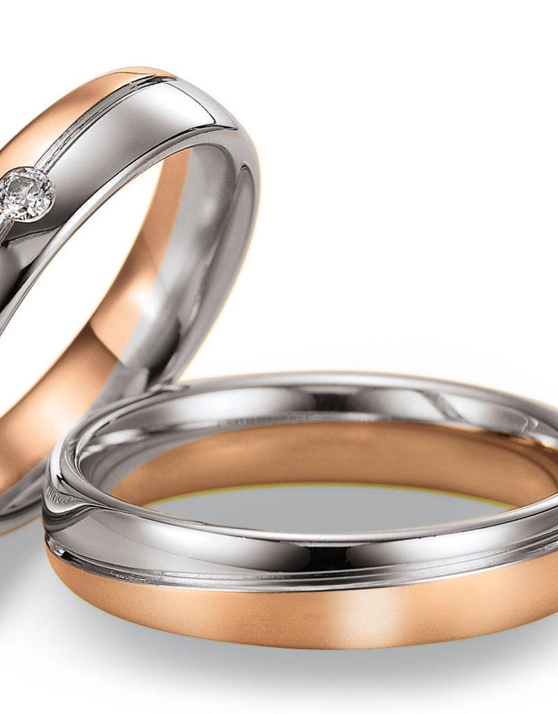 Gettmann Trouwringen - Wit en rosé goud - 8006,50 mm - 1 briljant = 0.05 ct