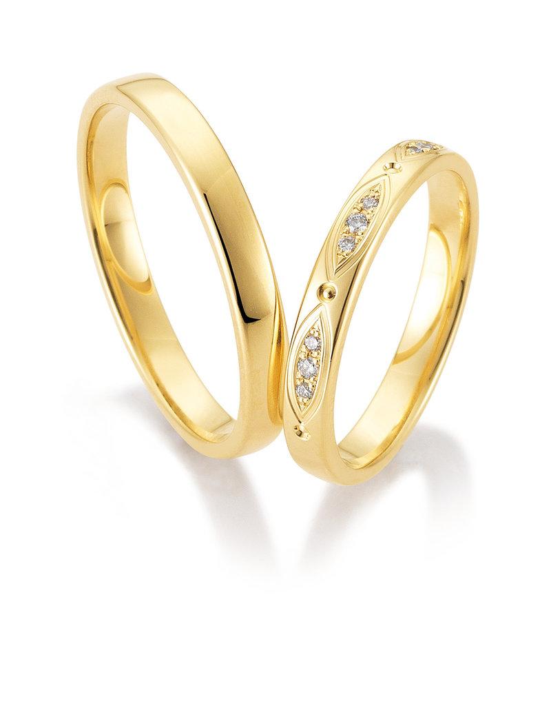 Gettmann Trouwringen - Geel goud - 8408,30 mm - 9 briljanten = 0.06 ct