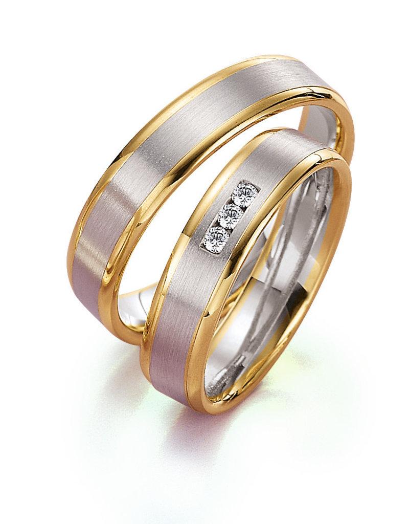 Gettmann Trouwringen - Wit en geel goud - 8099,50 mm - 3 briljanten = 0.075 ct