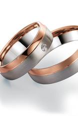 Gettmann Trouwringen - Wit en rosé goud - 8104,60 mm - 1 briljant = 0.04 ct