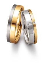 Gettmann Trouwringen - Wit en geel goud - 8044,50 mm - 3 briljanten = 0.024 ct