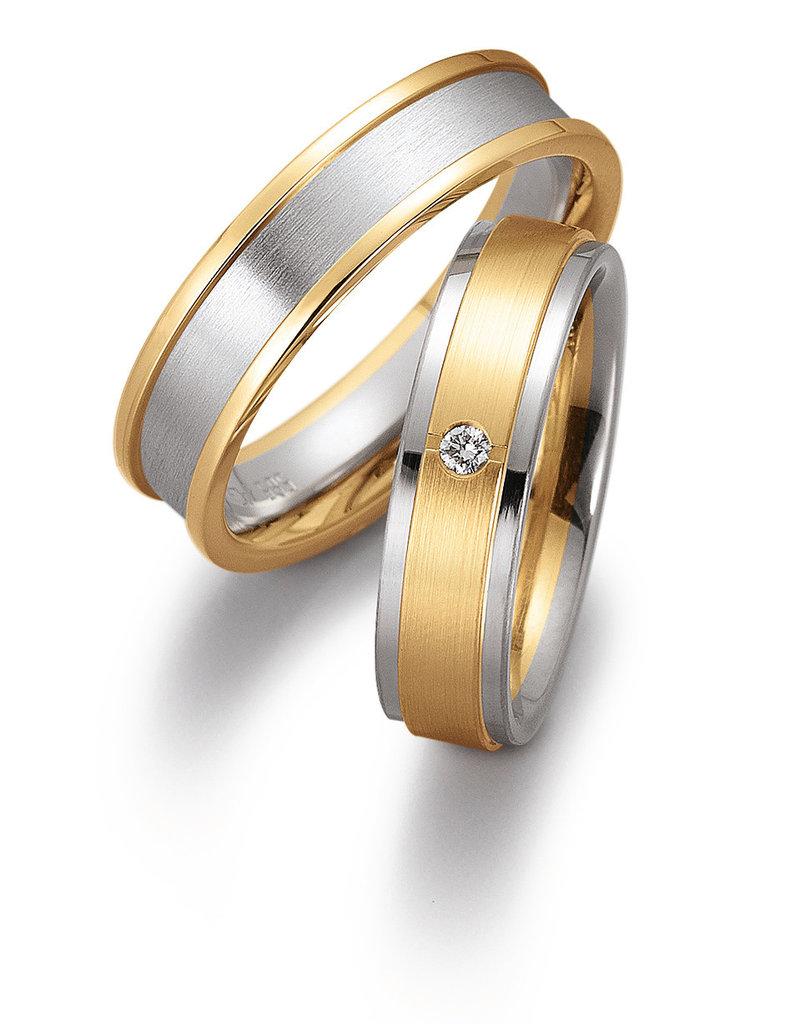 Gettmann Trouwringen - Wit en geel goud - 8046,55 mm - 1 briljant = 0.03 ct