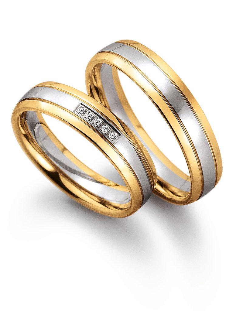 Gettmann Trouwringen - Wit en geel goud - 8050,50 mm - 5 briljanten = 0.025 ct
