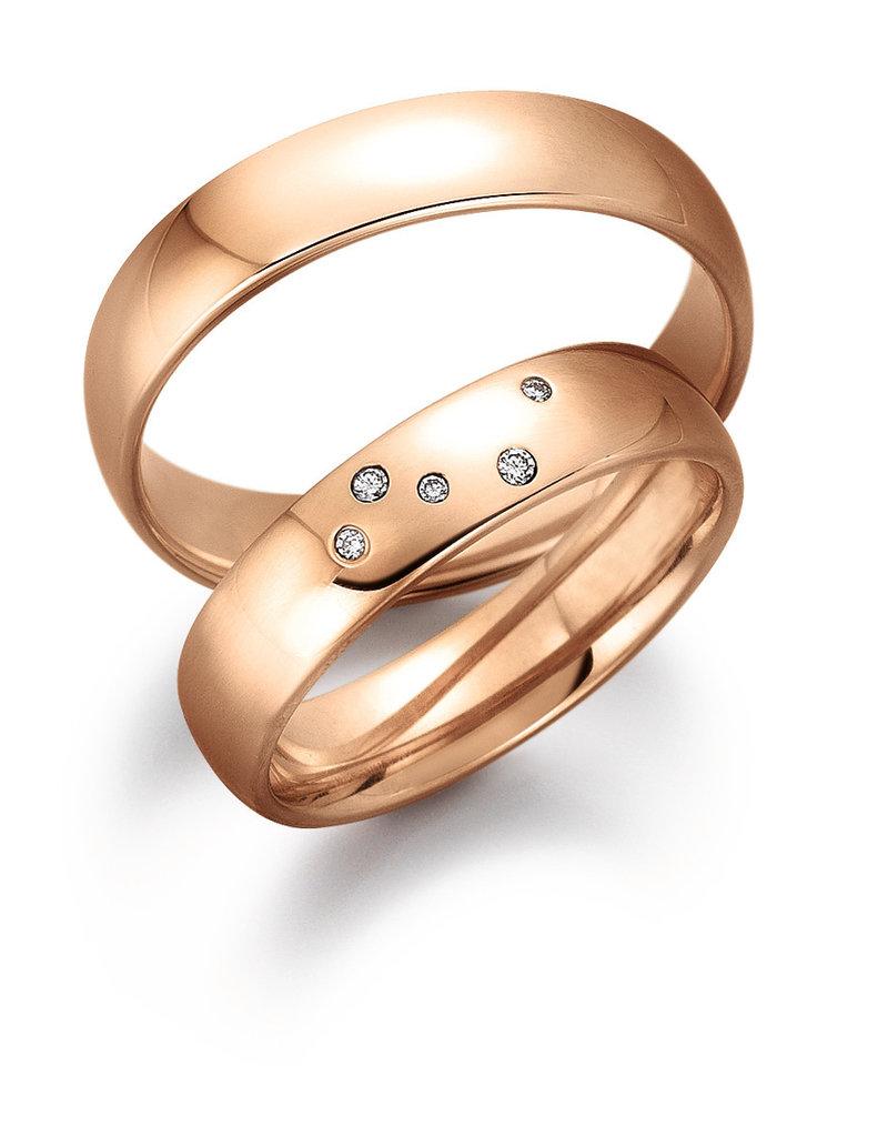 Gettmann Trouwringen - Rosé goud - 8058,50 mm - 5 briljanten = 0.035 ct