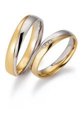 Gettmann Trouwringen - Wit en geel goud - 8382,40 mm - 3 briljanten = 0.015 ct