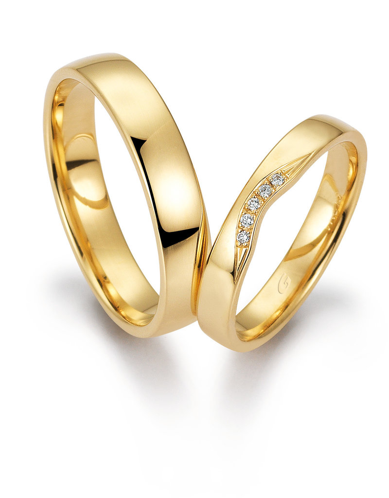 Gettmann Trouwringen - Geel goud - 8383,35 mm - 5 briljanten = 0.025 ct