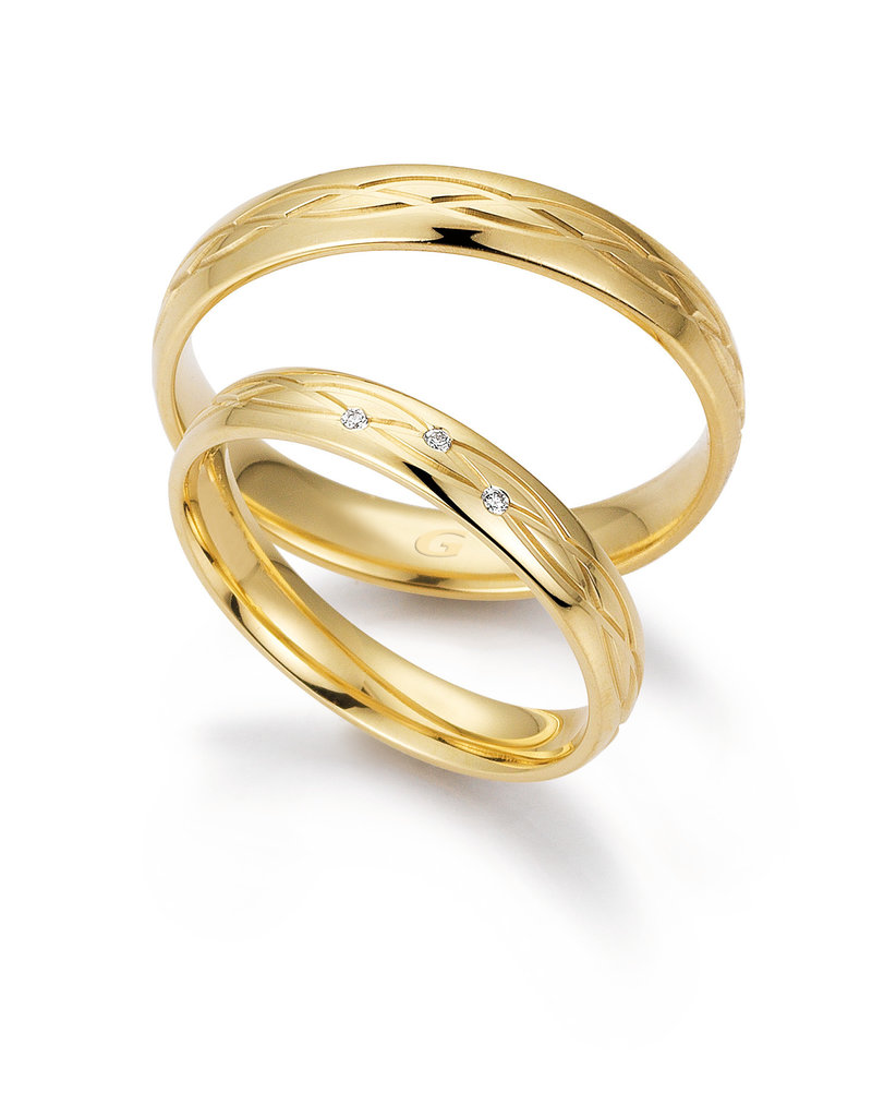 Gettmann Trouwringen - Geel goud - 8384,35 mm - 3 briljanten = 0.015 ct