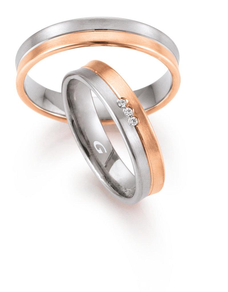Gettmann Trouwringen - Wit en rosé goud - 8344,45 mm - 3 briljanten = 0.024 ct