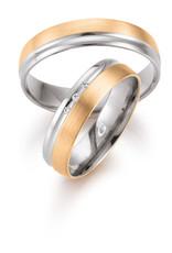 Gettmann Trouwringen - Wit en rosé goud - 8346,50 mm - 3 briljanten = 0.024 ct